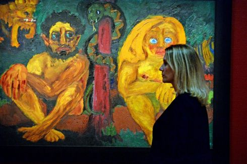 COLOUR IS LIFE: Curator Janet McLean with 'Paradise' by Emil Nolde, part of the Colour is Life exhibition which opens at the National Gallery of Ireland on Valentine's Day. Photograph: Cyril Byrne /The Irish Times