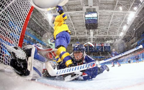 DESPAIRING DIVE: So Jung Shin and Chung Gum Hwang of Korea lie on the ice after Erica Uden Johansson of Sweden scored a goal in the first period during the Women's Ice Hockey Preliminary Round - Group B game on day three of the Winter Olympic Games in Gangneung, South Korea. Photograph: Grigory Dukor/Getty Images