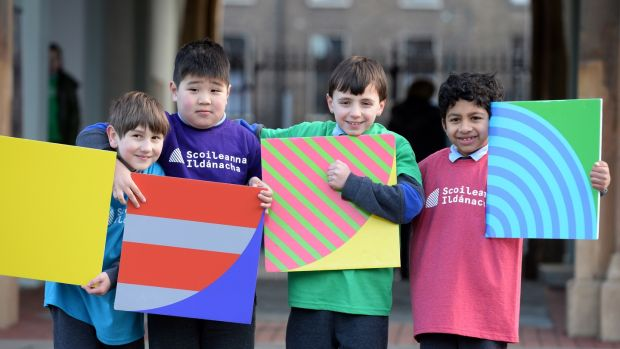 "Schoolchildren from Central Model Senior School, Marlborough St, Dublin, at the launch of the ""creative schools"" programme. From left: Damian Bezwsbnco, Telmuun Nasanbat, Felix Mallon and Suyog Kharel. Photograph: Dara Mac Dónaill"