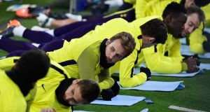 Harry Kane, centre, in training with the Tottenham squad  in Turin on  the eve of their  Champions League match against Juventus.  Photograph: Miguel Medina/AFP/Getty Images
