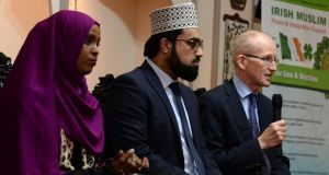 Ifrah Ahmed, Shaykh Dr Umar Al-Qadri and Dr Chris Fitzpatrick at the Al-Mustafa Islamic Centre  in Dublin., Photograph: Cyril Byrne