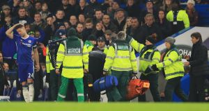 Ryan Mason was stretchered off during the Premier League match between Chelsea and Hull City at Stamford Bridge in January 2017. Photograph: Richard Heathcote/Getty Images