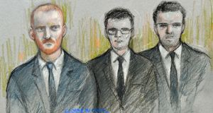 Court artist sketch by Elizabeth Cook of England and Durham cricketer Ben Stokes, Ryan Hale and Ryan Ali appearing at Bristol Magistrates' Court where they faced charges following an incident outside a nightclub in Bristol in September last year. Photograph: Elizabeth Cook/PA