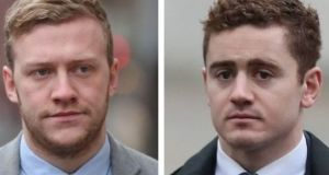 Stuart Olding (left) and Paddy Jackson pictured arriving at court  last week. Photograph: PA.