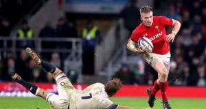 Wales' Gareth Anscombe saw a try ruled out in the defeat at Twickenham. Photograph: PA