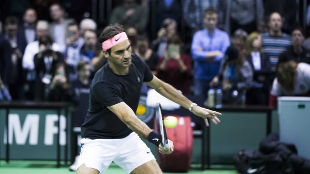 Roger Federer trains ahead of the of the ABN AMRO World Tennis Tournament in Rotterdam. Photograph: Koen Suyk/EPA
