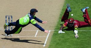 William Porterfield tries to run out Darren Sammy during Ireland's 2015 Cricket World Cup clash with the West Indies. Photograph: Chris Symes/Inpho