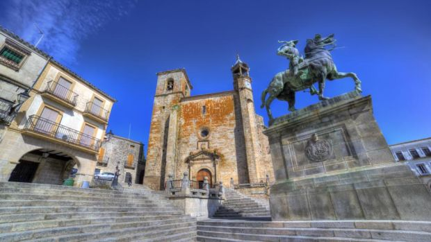 Extremadura: Plaza Mayor in Trujillo, including a statue of the conquistador Pizarro. Photograph: Getty