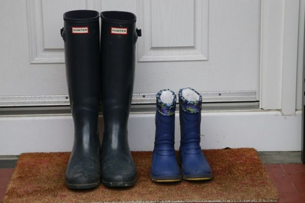 Wellies at the door of Isabel Hayes' home. Photograph Nick Bradshaw