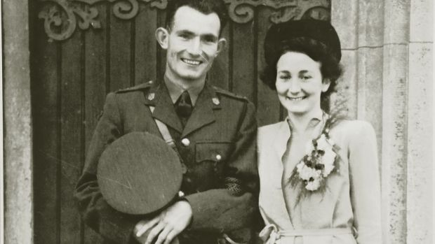 Ned and Eileen Cusac on the day of their marriage at St Patrick's Church, Galway, on 15 June 1944.
