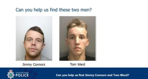 UK police have warned that Jimmy Michael Connors, 28, and Tom Joseph Ward, 17 are violent and should not be approached.