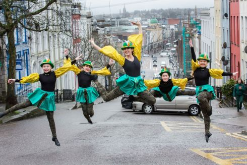 MAKING MOVES: Ellie Sheehan, Hazel Harrington, Amber Harrington, Alison Brady and Chelsea O'Callaghan of Making Moves Dance School at the launch of the Cork St Patrick's Festival. Organised by Cork City Council, the event is to run from March 16th-18th. Photograph: Darragh Kane