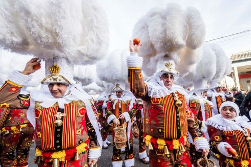 CARNIVAL OF BINCHE: The annual Carnival of Binche takes place in the Belgian town of that name. The event is run  during the Sunday, Monday, and Tuesday preceding Ash Wednesday. The tradition is one of the most ancient and representative of Wallonia. Photograph: Geert Vanden Wijngaert/AP Photo