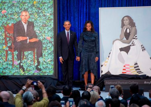 OBAMA DRAMA: Former US president Barack Obama and his wife, ex-first lady Michelle Obama, beside their portraits after their unveiling at the Smithsonian's National Portrait Gallery in Washington, DC. Photograph: Saul Loeb/AFP/Getty Images