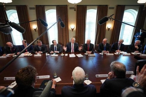 CABINET MAKER: US president Donald Trump meets  members of Congress in the Cabinet Room of the White House in Washington, DC. Photograph: Mandel Ngan/AFP/Getty Images
