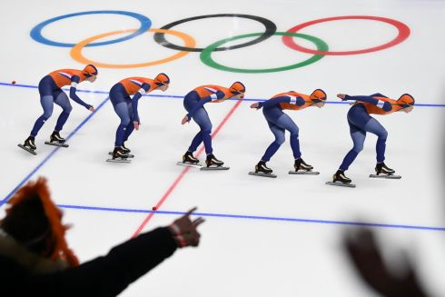 SPEED SKATING: A multiple-exposure photograph shows the Netherlands' Ireen Wust competing in the women's 1,500m speed skating event during the Pyeongchang 2018 Winter Olympic Games at the Gangneung Oval in Gangneung, South Korea. Photograph: Roberto Schmidt/AFP/Getty Images