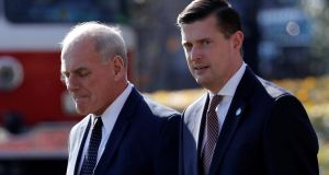 Rob Porter (right)   who resigned last week ahead of the expected publication of details in a newspaper about his alleged abuse of two ex-wives. Photograph:  Reuters/Jonathan Ernst