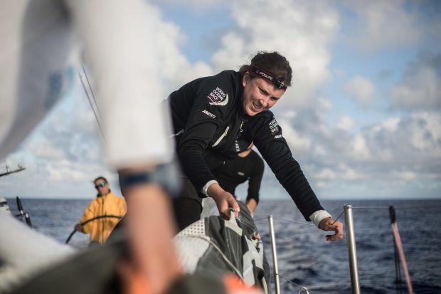 Annalise Murphy on board Turn the Tide on Plastic during Leg 6 to Auckland