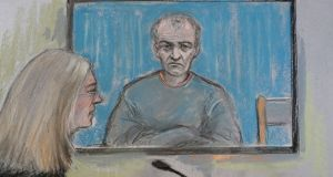 A court  artist's sketch of former football coach Barry Bennell appearing via video link