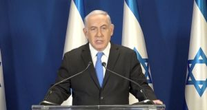 Israeli prime minister Binyamin Netanyahu: in a live television address on Tuesday he rejected allegations of corruption. Photograph: Reuters