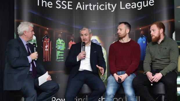 Con Murphy (L) Cork City boss John Caulfield, Stephen O'Donnell of Dundalk, and Ryan Connolly of Galway. Photograph: Seb Daly/Inpho