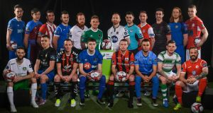 Players at the launch of the Airtricity League. Photograph: Sam Barnes/Sportsfile