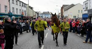 Grand National winner Rule The World during a homecoming event in Mullingar in 2016. Photograph: PA Wire