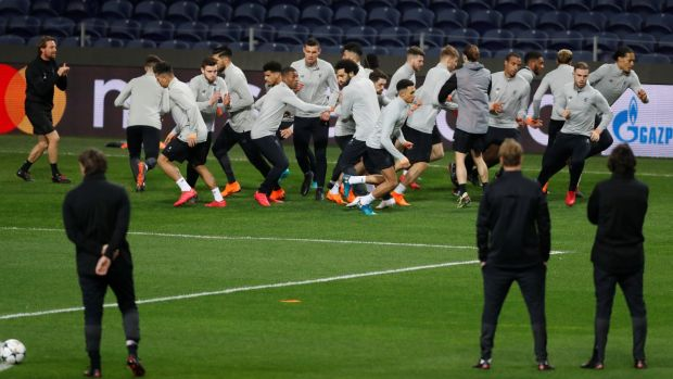 Liverpool players during training at the Estádio do Dragão in Porto on Tuesday. Photograph: Matthew Childs/Reuters