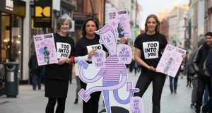Director of Women's Aid Margaret Martin, businesswoman Norah Casey and TV presenter Bláthnaid Treacy launch  #TooIntoYou campaign. Photograph: Paul Sharp/ SHARPPIX