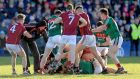 Tempers flare in the closing stages of Galway and  Mayo's match at Pearse Stadium, Galway. Photograph: ©INPHO/Donall Farmer