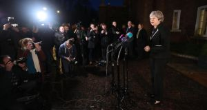 Stormont talks: Theresa May in Northern Ireland on Monday, when she and Leo Varadkar discussed the state of play in Brexit talks. Photograph: Niall Carson/PA Wire