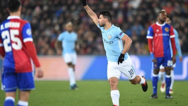 Sergio Aguero scored Man City's third against Basel. Photograph: Sebastien Bozon/EFP