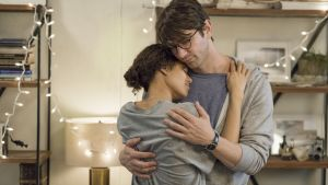 Gugu Mbatha-Raw as Abbie and Michiel Huisman as Sam in 'Irreplaceable You'