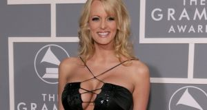 Stormy Daniels, whose real name is Stephanie Clifford, a the 2007 Grammy Awards. In interviews, she has refused to directly answer questions about allegations of an  affair with Donald Trump.  Photograph:  Matt Sayles/AP