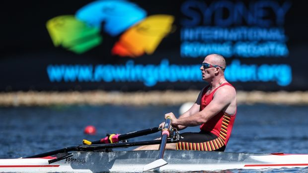 Kevin Wall competing at the Australian Rowing Championships in Sydney in 2015. Photograph: Iconphoto