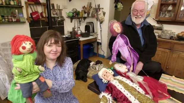 Paula and Michael Lambert with Bosco and other puppets. Photograph: Alan Betson