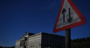 Road sign in front of Parliament Buildings at Stormont: political parties must have a concept of the common good as well as their own self-interest. Photograph: Clodagh Kilcoyne