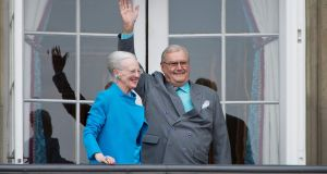 Danish Queen Margrethe and Prince Henrik greeting well-wishers from the balcony on the occasion of the Queen's 76th Birthday celebration at Amalienborg Palace in Copenhagen in 2016. Photograph: Marie Hald/Scanpix Denmark/AFP/Getty