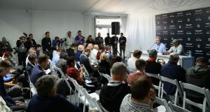 Tiger Woods  addresses a press conference   at the Riviera Country Club. Photograph: Warren Little/Getty Images