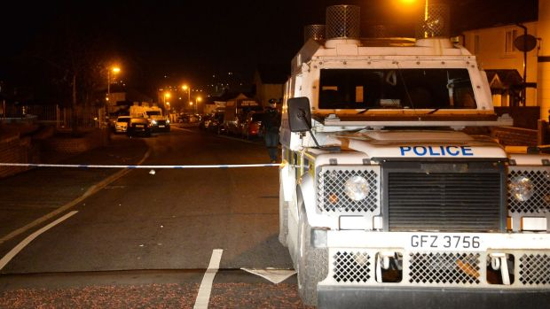 Police at the scene of the shooting at Glenbawn Avenue, Belfast on Tuesday night. Photo Colm Lenaghan/Pacemaker.
