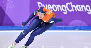 Netherlands' Jorien Ter Mors, who won the gold medal, competes in the women's 1,000m speed skating event during the Pyeongchang 2018 Winter Olympic Games  in Gangneung. Photograph:  Mladen Antonov/AFP/Getty