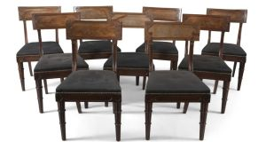 Lot 208, a set of 18 Georgian mahogany dining chairs