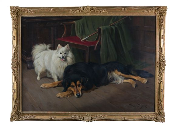 Lot 211, entitled 'At the End of the Day' by the appropriately named Wright Barker an English artist best-known for his paintings of animals and hunting