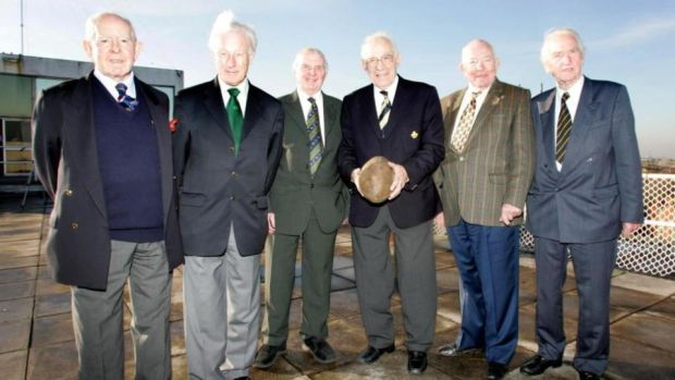 Members of the Grand Slam-winning 1948 Ireland rugby team in 2005. Jim McCarthy, Jack Kyle, Paddy Reid, Jimmy Nelson, captain Karl Mullen and Michael O'Flanagan. File photograph: Andrew Paton/Inpho