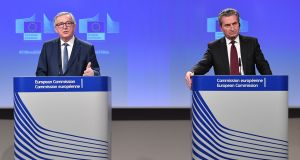 European Commission president Jean-Claude Juncker  and EU commissioner Gunther Oettinger during  a joint press conference  in Brussels on Wednesday. Photograph: Getty Images