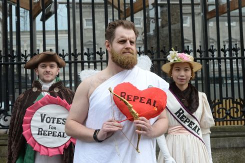 REPEAL THE EIGHTH: Morgan Maher, Adam Murray and Lute Alraad of the Abortion Rights Campaign campaign for a repeal of the Eighth Amendment outside the Dail. Photograph: Alan Betson/The Irish Times