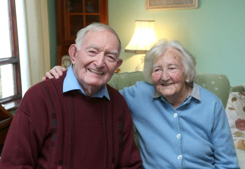 LENGTHY LOVING: Ned and Eileen Cusack at home near Moycullen village in Co Galway.  One of Ireland's oldest married couples, they were marking their 73rd Valentine's Day together.  Photograph: Joe O'Shaughnessy