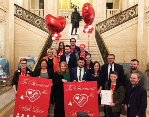 VALENTINE'S CRASH: Same-sex marriage campaigners and politicians at Parliament Buildings in  Stormont, where activists delivered Valentine's Day cards, before talks to restore powersharing collapsed on Wednesday evening. Photograph: David Young/PA Wire