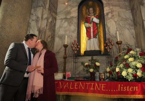 SAINTLY BLESSING: Anna Keegan (of Glenageary) and Seamus Walsh (of Ballycastle, Mayo) during a celebration of the Feast of Saint Valentine at Whitefriar Street Carmelite Church in Dublin. A blessing of the engaged couple was performed at the Shrine of the holy relics of Saint Valentine in the church. Photograph: Gareth Chaney/Collins