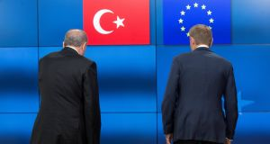 Turkish president Recep Tayyip Erdogan and European Council president Donald Tusk: Mr Erdogan's authoritarian methods have been a convenient excuse for long-fingering EU accession discussions. Photograph: Olivier Hoslet